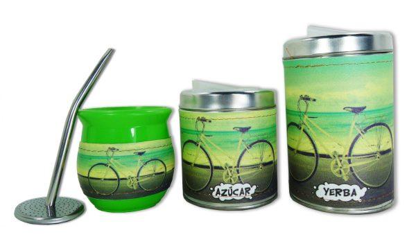 Set de 3 piezas diseño de Bici con fondo verde