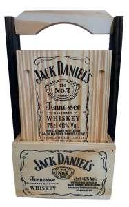 Set de tablas para asado con canasta y sublimado de Jack Daniels