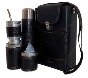 Set matero croco negro colección Tami