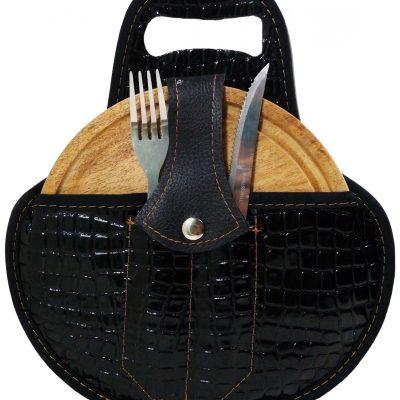 Set de asado color croco negro con cubiertos