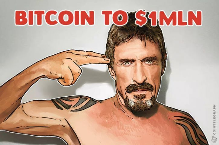 John McAfee Doubles Down, Predicts $1 Mln BTC,