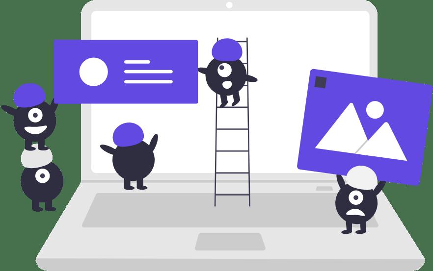 Ilustración de monstruos construyendo otros sitios web en Munkys