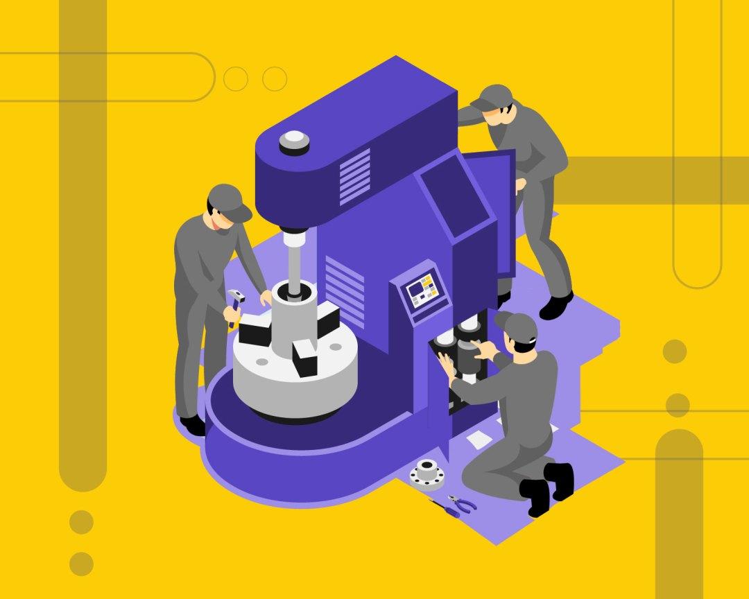 Mecánicos haciendo una reparación e ingresando datos en un software de mantenimiento