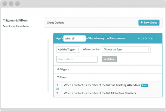 Triggers and Filters Marketing Automation