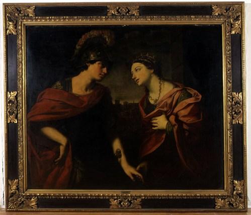Guido Reni, ENEJA I DIDONA, Bologna, početak 17. st., ulje na platnu, 115,5 x 138 cm, MUO 25558, Guido Reni (Galvenzano, 1575. – Bologna, 1642.) jedan je od najznačajnijihbaroknih bolonjskih slikara. Unatoč znatnom utjecaju Caravaggia,s čijim se slikarstvom susreo tijekom boravka u Rimu od 1603.,Guido Reni je ipak zadržao jednu klasičniju liniju baroknog slikarstva,o čemu svjedoci i slika Eneja i Didona. Dokumentirano je da jeReni naslikao sliku s ovim antičkim motivom i poznato je nekolikonjezinih kopija u drugim europskim muzejima. No, s obzirom na karakteristikeslike te podatke nađene infracrvenom kamerom na slicikoja se čuva u MUO, moôe se osnovano zaključiti da je upravo ova slikanastala od ruke velikog majstora.