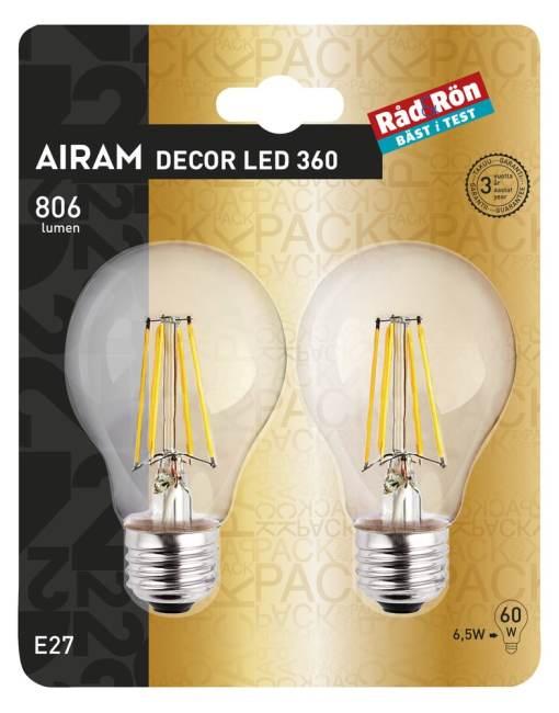 Led lamppu E27 6,5 W / 806 L, 2 kpl (60W)