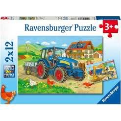 Palapeli 12 x 2 palaa traktori & kaivuri Ravensburger