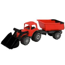 Plasto kauhatraktori ja peräkärry punainen