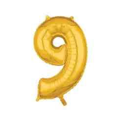 Folionumeropallo 9 kultainen 66 cm