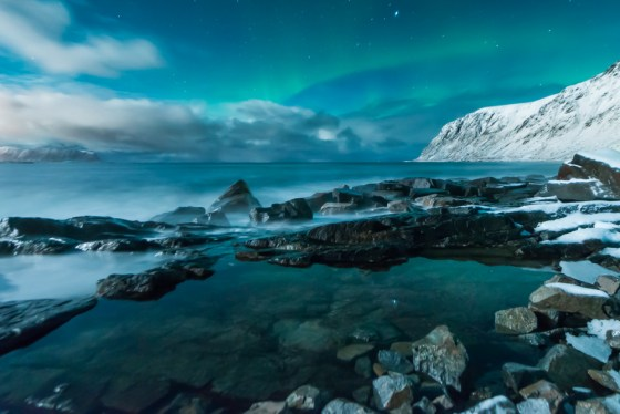 skagsanden beach - northern lights