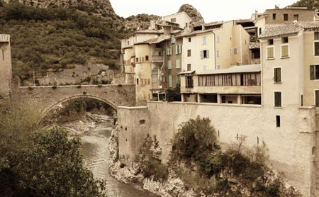 A drawbridge offers access to an ancient French village