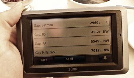 Screen shot of Garmin Zūmo 660 pointing to Gap, Batman