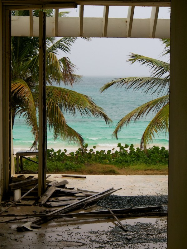 Interior view looking from ground floor apartment looking out onto beach and palm trees through broken window, parts of wooden frame occupy the floor.