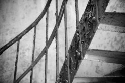 Close in shot of a rusty iron staircase
