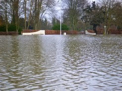 Flooded entrance to The Runnymede Hotel