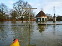 Footpath sign stands in flooded field