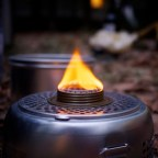 Trangia cooker flame in the evening