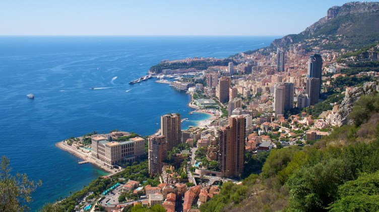 Clifftop view of Monte Carlo bay