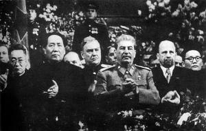 Archive photo of Chairman Mao, Stalin, and Ulbricht