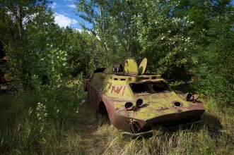 Wrecked armoured patrol vehicle rusts among trees in a small piece of woodland