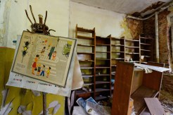 Interior view of a room, hatstand with birds nest supports the Russian equivalent of a Green Cross Code poster, empty shelves in background and a floor covered with books and broken toys.