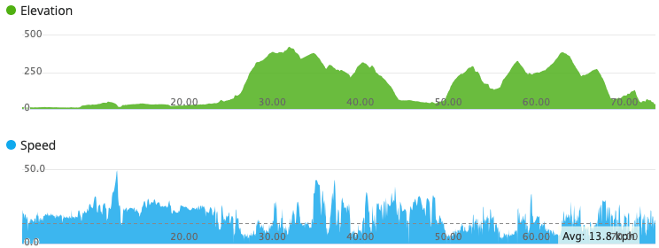 Graph showing elevation and speed data