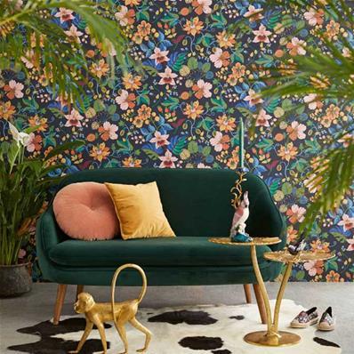 papier peint fleurs multicolores fond noir carmen 10 m