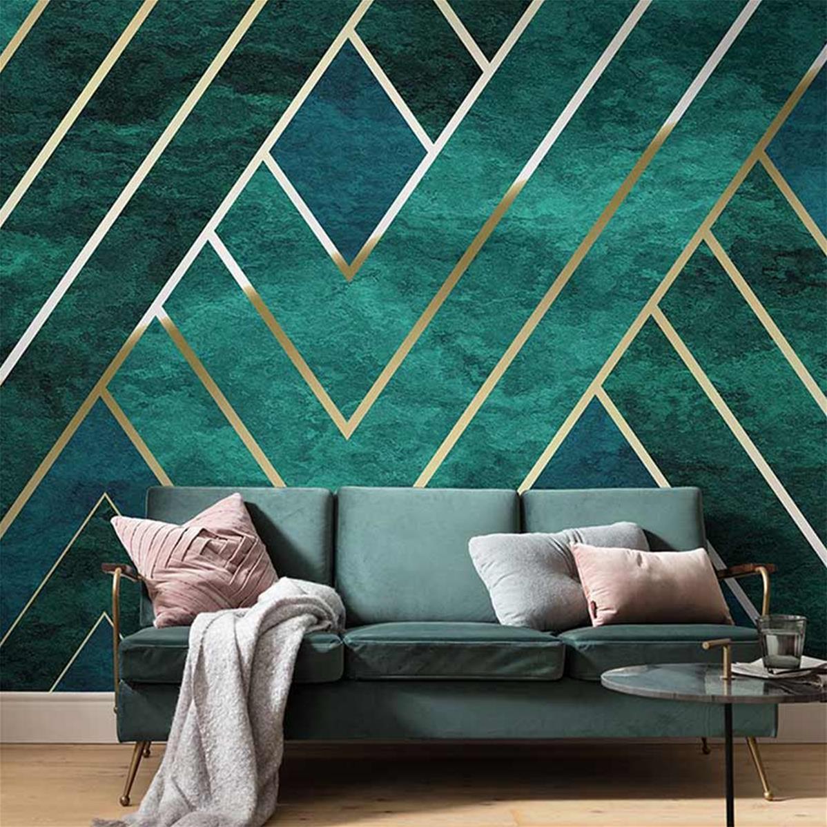 papier peint graphique vert et or artdeco 300x250