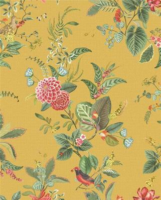 papier peint floral bleu canard ou jaune constance 10m