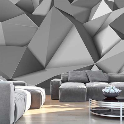 papier peint 3d gris graphite pyramide