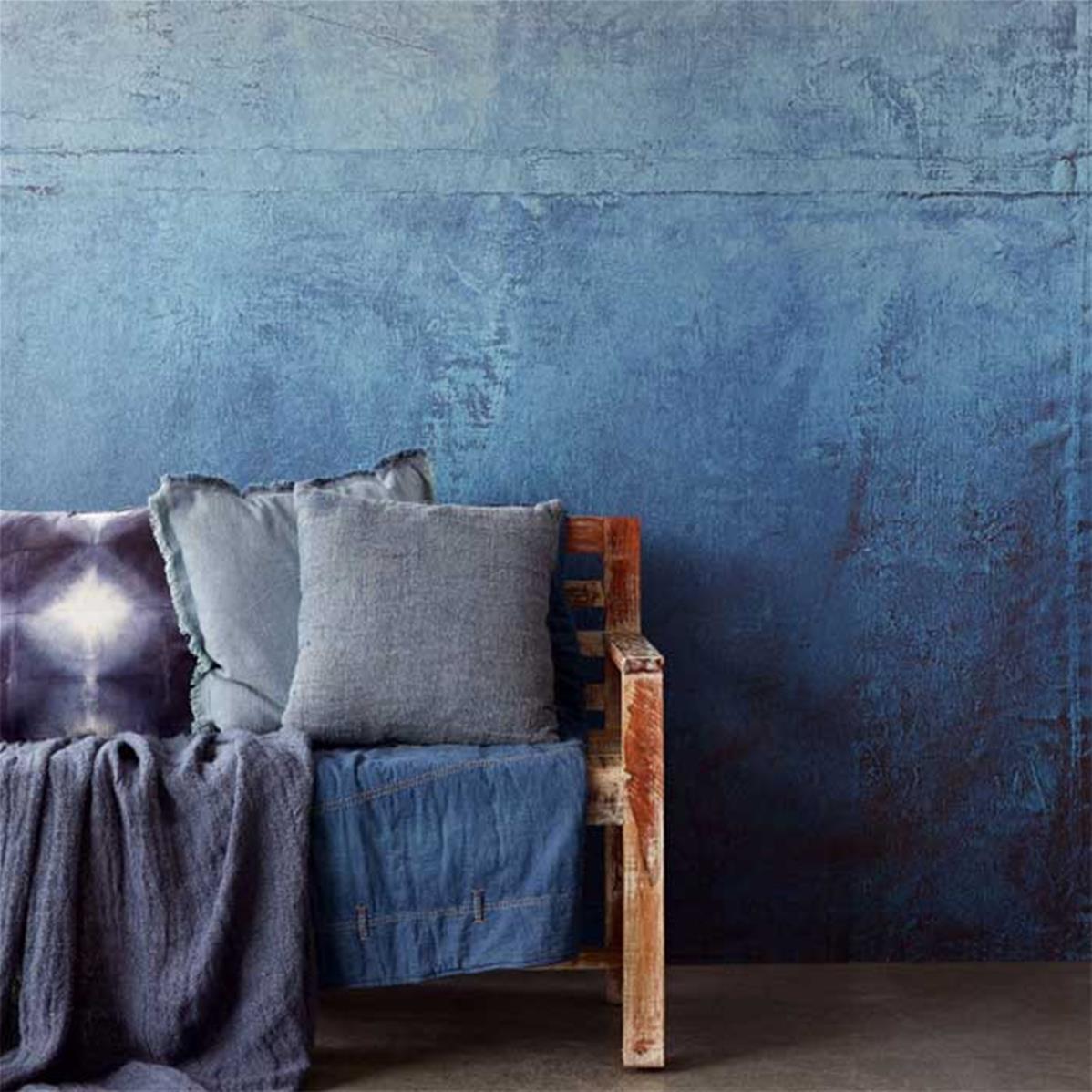 papier peint aspect beton bleu industriel lino 212x280