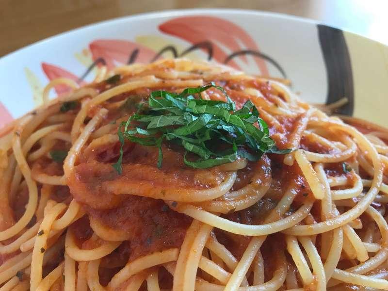 ピノキオ初生店の青じそトマトスパゲティ