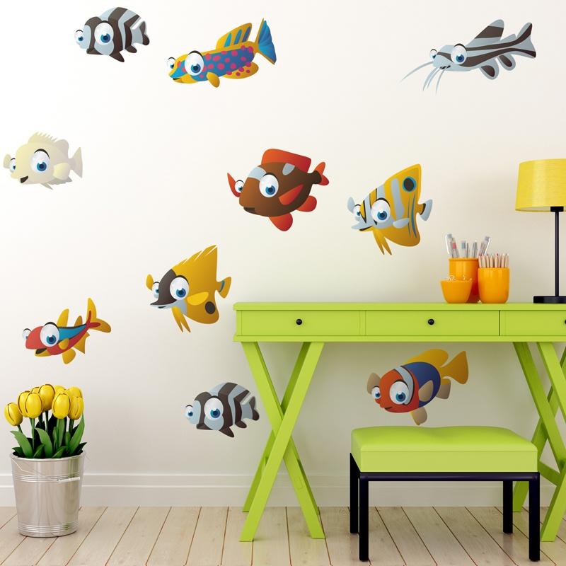 Decorazioni per bambini set accessori per capelli bambina disney minnie forcine mollettine e cerchietto escrizione prodotto: Kids Wall Sticker Kit 10 Fishes Muraldecal Com
