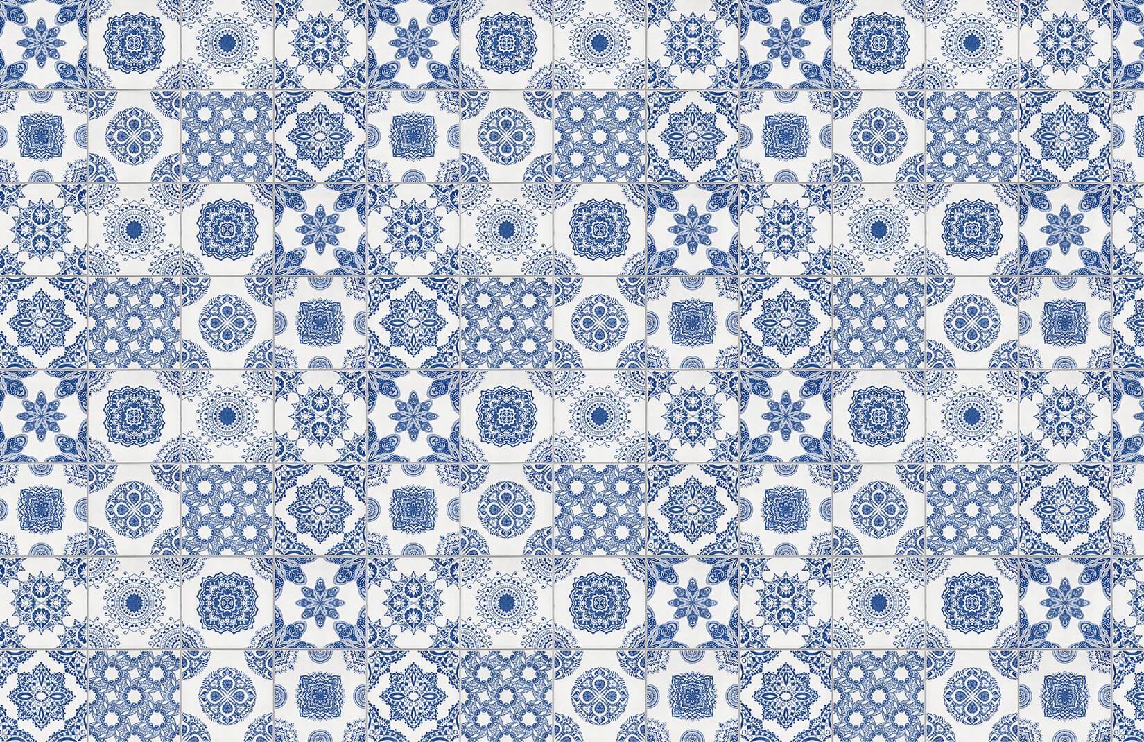 White And Blue Portuguese Tiled Wallpaper Murals Wallpaper