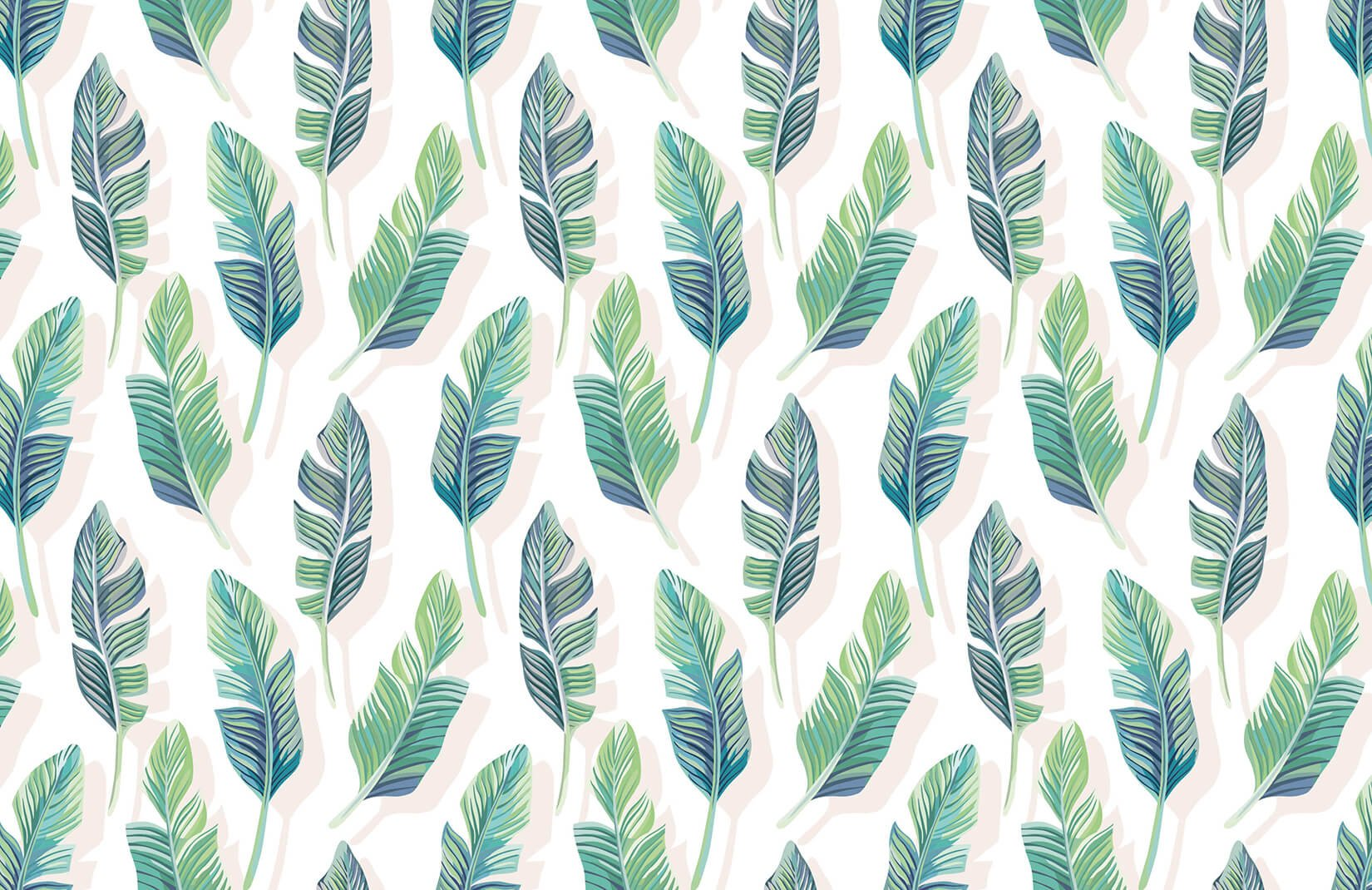 White And Green Tropical Leaf Wallpaper Mural Wallpaper