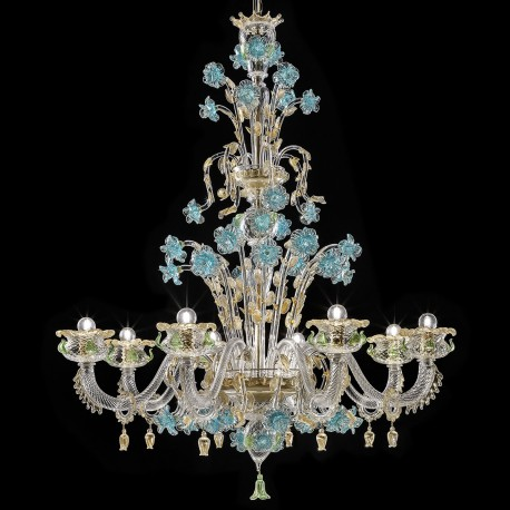 Celeste Murano Glass Chandelier 8 Lights Transpa Gold With Turquoise And Green