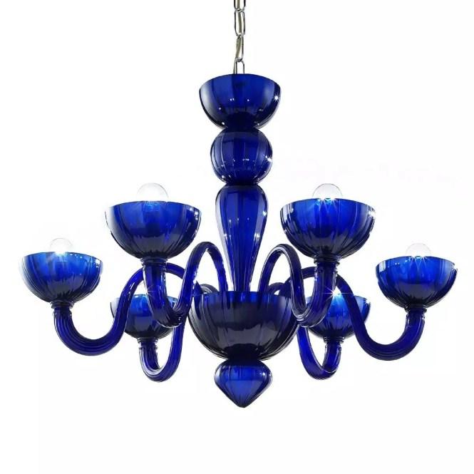 Redentore 6 Lights Murano Chandelier Blue Color