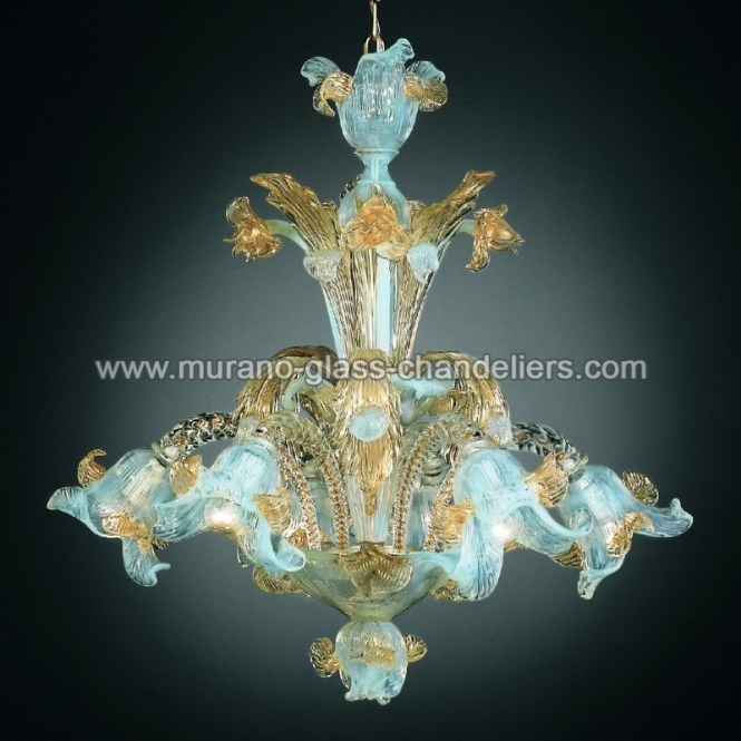 Vivaldi 6 Lights Murano Chandelier Opal Gold Color