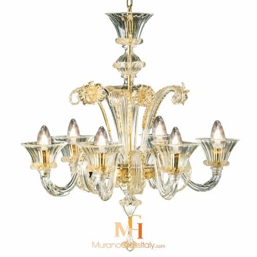 Valentina Art Glass Chandelier With 24 Karat Gold 6 Arms Chandeliers Venetian