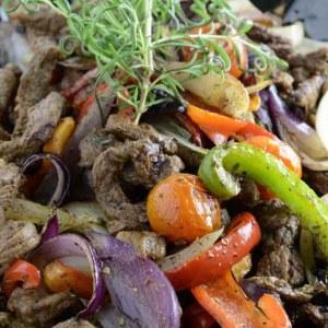 Grillet entrecote tapas med grønnsaker