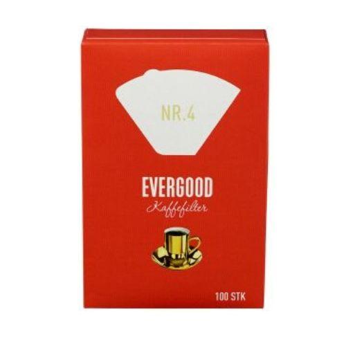 EVERGOOD Filterpapir Kaffefilter nr.4 - 100 stk Svanemerket