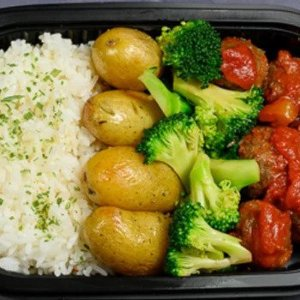 Kjøttboller,brokkoli,potet,ris