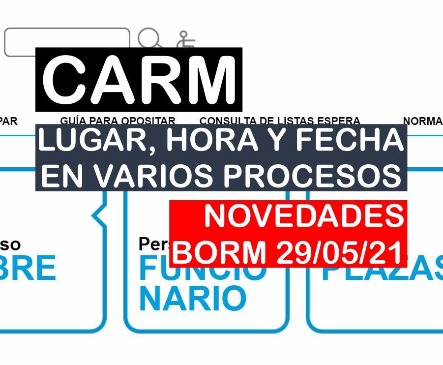 Novedades en varios procesos selectivos de la CARM del BORM de 29 de mayo de 2021