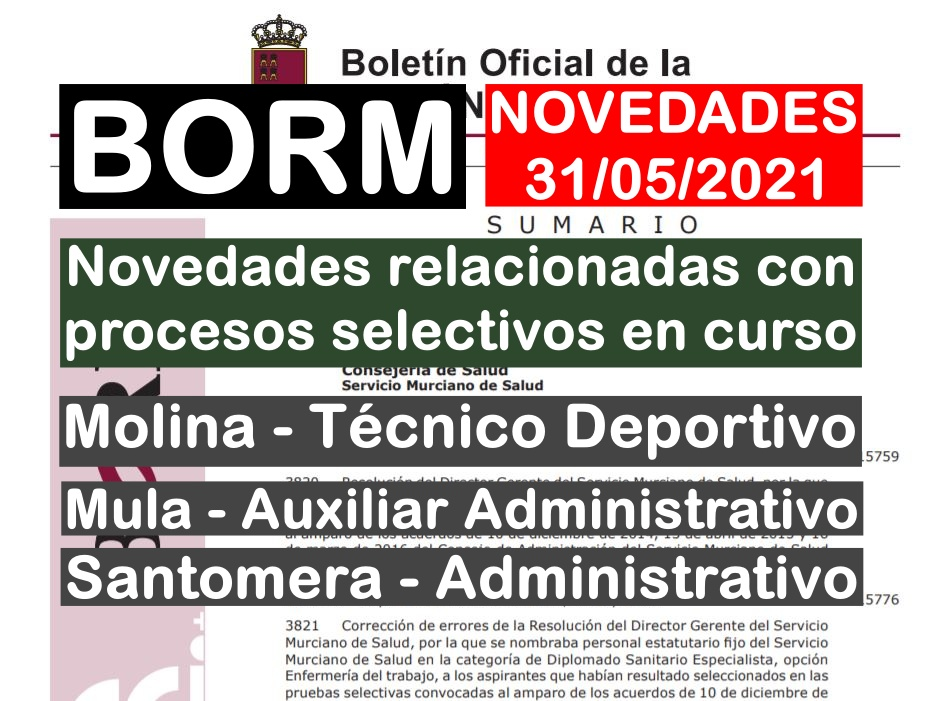 procesos selectivos en el BORM del 31/05/2021
