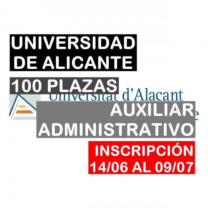 100 plazas Auxiliar Administrativo de la Universidad de Alicante