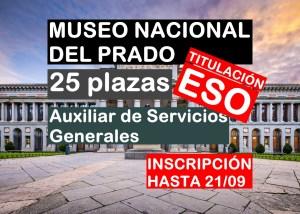 25 plazas Auxiliar de Servicios Generales del Museo del Prado