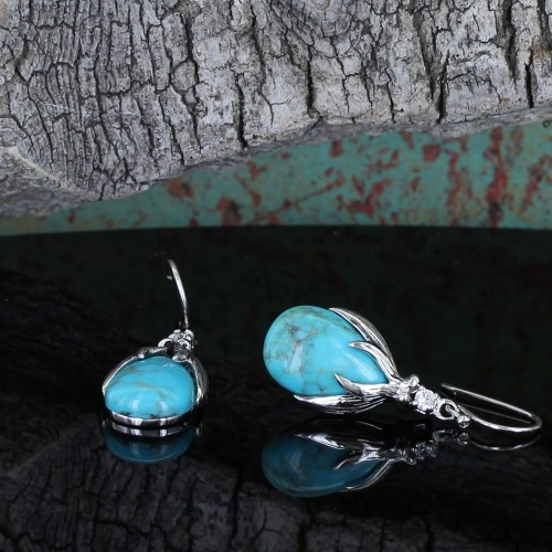 Kristy Titus turquoise earrings with elk antler tendrils