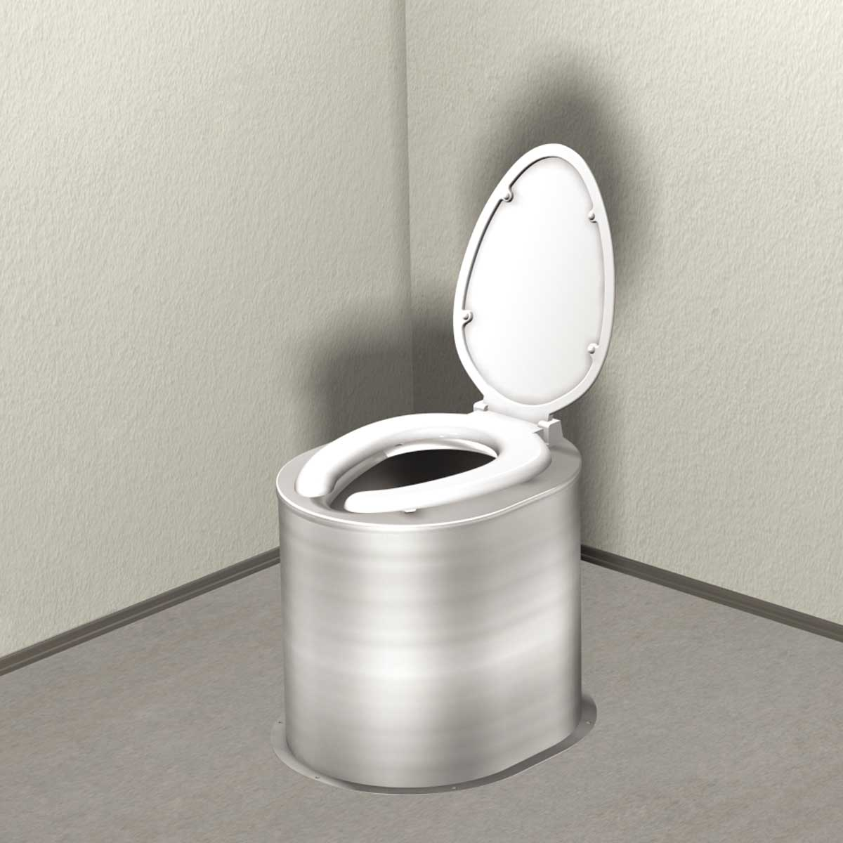Floor Mounted Waterless Toilet Riser With Seat And Cover