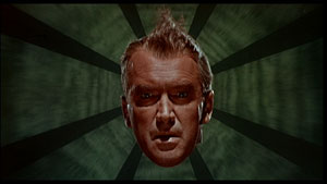 The flying head of Jimmy Stewart, from Vertigo