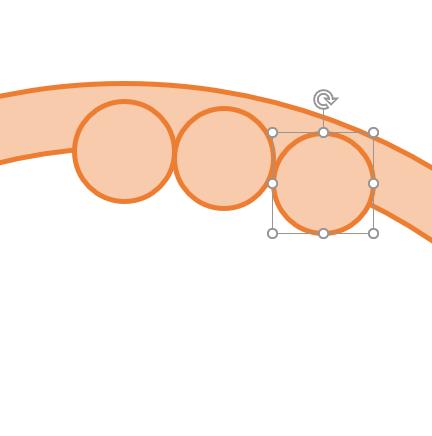絨毛を描く.単純に円をコピペして内側の円周上に並べていく